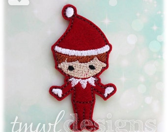 Shelved Scout Christmas Elf Doll Feltie Digital Design File - 1.75""