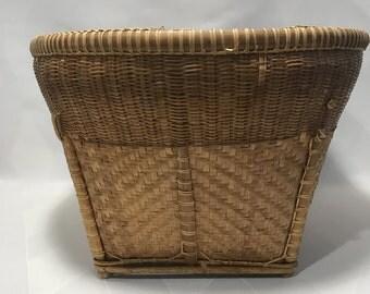Vintage Large Southeast Asian Bamboo Market Basket Rustic Kitchen Laundry