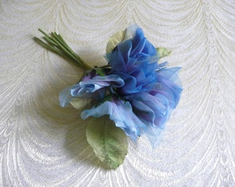 Vintage Silk Rose Buds Blue Ombre NOS Millinery Flowers Bunch of 6 with Leaves for Hats Weddings Crafts Fascinators 3FV0092B