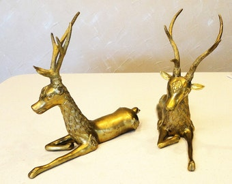 LARGE Brass Vintage Reindeer Pair Christmas Home Decor Lot of 2