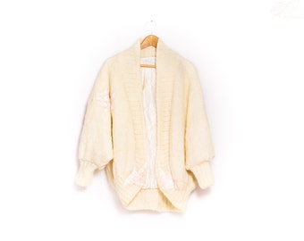 80s Oversize Mohair Batwing Cardigan  |  Vintage Mohair Cardigan  |  Cream Knitted Batwing Jacket |  Cream Mohair Cardigan with Satin Detail