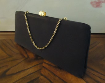 Vintage Black Mr Bonhomme Purse  Clutch Handbag 1950s