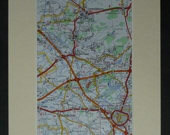 1980s Vintage Belgian Map of Hasselt, Beringen Decor, Leopoldsburg Gift, Lummen Wall Art, Retro Herk-de-Stad Art, Zolder Print Olmen Picture