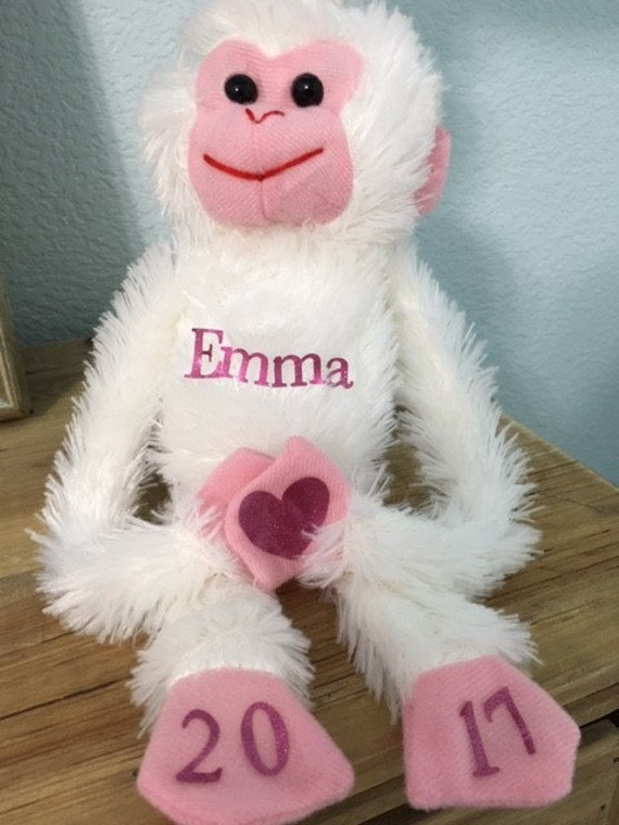Baby toys, plush monkey,  hanging around,  personalized with a name and the  year,  Valentines day gifts, New baby, fun baby shower gift.