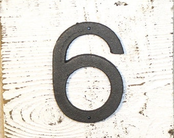 6 - 5 Inch Cast Iron Metal Number 6 or 9 - WITH DRILL HOLES for Mounting