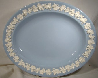 "Wedgwood Queensware White on Blue 12-3/8"" Platter Grape and Vine"