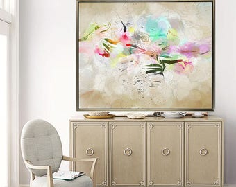 """Large Abstract Wall Art - beige 20x24 colorful abstract art prints 16x20 whimsical 20x30 modern wall decor 30x40 contemporary art 11x14 """"Joy"""