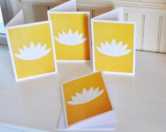 Golden Lotus Cards - Set of 4 - 5x7 Blank Inside