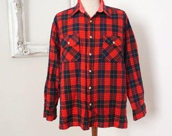 Dickies Vintage Red and Black Plaid Flannel Shirt Men Sz L