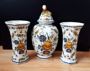 3 Vintage Delfts Polychrome Vases, Dutch Porcelain Polychrome Vases, Delfts Vases