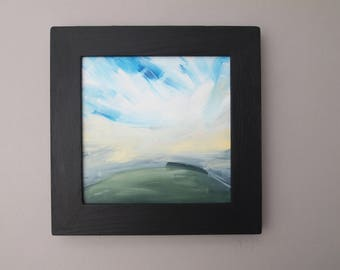 Landscape Painting Sky Skyscape Framed Cloudscape Oil Original  Dream Land English Countryside Outdoors  Green Blue White Yellow Woods Hills