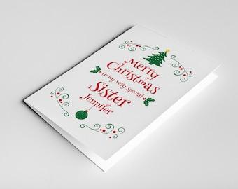Sister Christmas Card, Sister Christmas Gift For Sister, Sister Card, Stepsister Card, Christmas Sister Card, Christmas Card for Sister