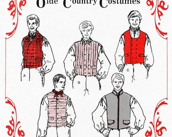 Men's Nordic Style Vest in 5 Styles sizes 38-48 Olde Country Costumes Sewing Pattern # 878