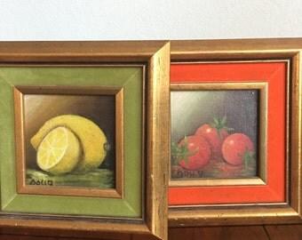 Set of 2 Oil Paintings Sliced Fruit, Gifts under 35, Art Under 35