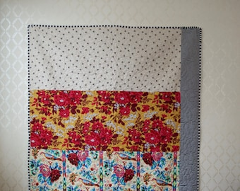 Floral, Birds, and Stripes Toddler Quilt
