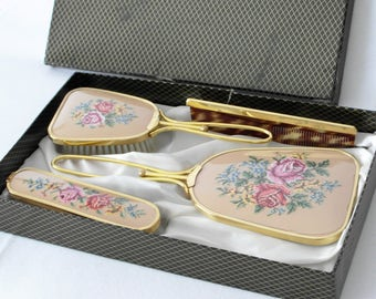 Petit Point Styling Set with Silk Embroidery Beige silk cloth Mirror & Hairbrush Embroidered Rose Flowers