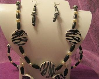 BLACK And WHITE ZEBRA Print Jewelry Set