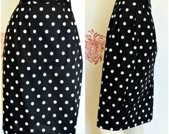 Vintage Pencil Skirt | 80s Skirt |  Polka Dot Pencil Skirt | Womens Black and White Skirt | Ladies Pencil Skirt | Black and White Polka Dot