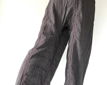 TCZ0041 Hand Sewing Inseam design for Thai Fisherman Pants Wide Leg pants, Wrap pants, Unisex pants, Thai Fisherman Pants, Cotton