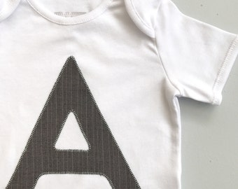 SALE Baby A name shirt, size 12-18 months, initial A letter shirt, baby boy outfit, initial bodysuit, monogram baby clothes