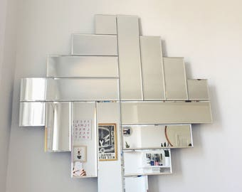 Vintage Large Mod Mirror . Frameless Beveled Mirror . Art Deco . Local Pickup or Delivery Only