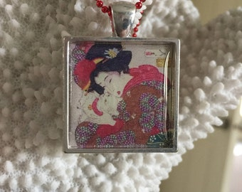 Chinese Lady with Cat Silver Square pendant necklace on ball chain