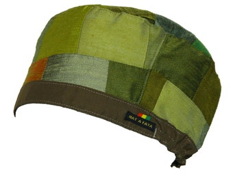 PATCHWORK FREESTYLE 001 - Green Hat for Dreadlocks, (54-66cm)  Rasta Crown for men or women, OOAK , Tam size S, Ready to ship.
