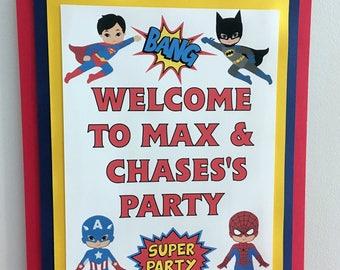Superhero Party Door Sign / Spider Man Party Door Sign / Superman Party Door Sign / Batman Party Door Sign