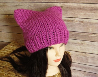 Pink Cat Hat - READY TO SHIP - Fuchsia Pussy Hat - Knit Winter Hat - International Woman's Day - Pussycat - Planned Parenthood