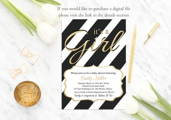 Black White Baby Shower Invitation It's a Girl Baby Shower Invite, Girl Baby Shower Invitation, Gold Glitter, Modern, Digital or Printed