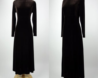 1990s brown velvet maxi dress, long sleeve, turtle neck, stretch Moda INTL, XS to small