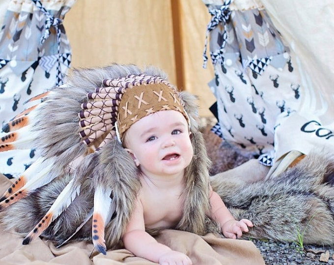 PRICE REDUCED - N04 - For 9 to 18 month Toddler / Baby: brown Headdress for the little ones !,