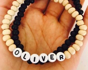 Boys name bracelet, boys wood bead bracelet, Boys gifts, Boys birthday present,