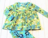 Organic Kids Clothes - Organic Children's Lounge Set - Organic Girl's Clothing - Green and Blue Pajamas - Girl's Pajamas