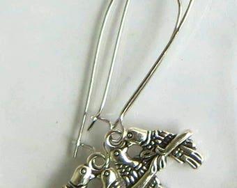 Dangle & Drop Earrings. Approx. 1in. length-Love Birds