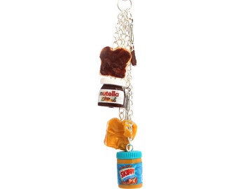 Nutella skippy  food polymer clay keychain with tiny knife and smeared bread miniature food jewelry