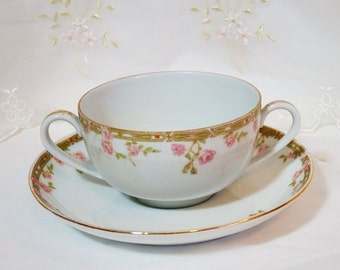 Antique Boulion/Tea/Soup Cup // Pink Rose Motif // O. & E.G. Royal Austria
