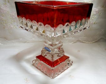 Ruby Flashed Glass // Compote// Candy Dish // Smith Handmade