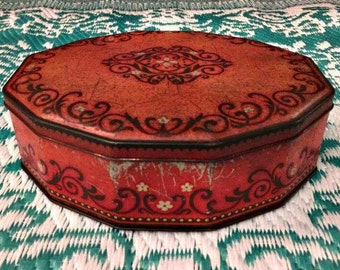 Tin box ,Old tin ,vintage tin , retro ,Blikken doos ,