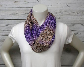 Purple and Tan Infinity Scarf