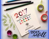 2017 Desktop Calendar on Recycled Paper, REFILL for CD Case, Seasonal Art, Fun and Eco-Friendly!