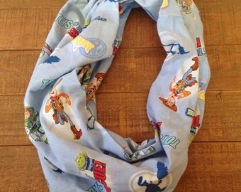 Toy Story Infinity Scarf, Upcycled Sheets, Buzz and Woody