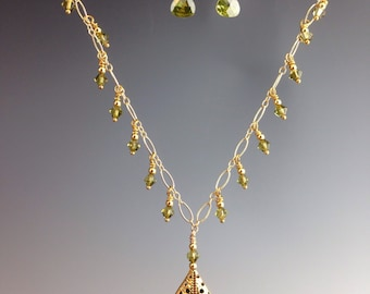 "Olive Green necklace, Art Deco jewelry, Swarovski crystals, Gold Fill, Olive pendant necklace, Bridal jewelry, wedding jewelry, ""EVOO"""