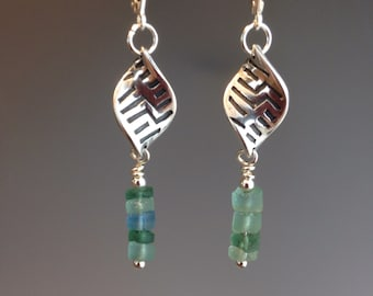 Roman glass Earrings, Roman glass jewelry, ancient glass earrings, Historical jewelry, Beaded earrings, white bronze earrings, Roman Sails