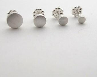 Circle Stud Set - Set of Four Sterling Silver Circle Stud Earrings, Multiple Piercing Stud Set, Gift for Him, Earring Set, Stud Gift Set