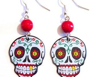 Dia De Los Muertos Sugar Skull Calavera Guitar Pick Earrings with Red Beads