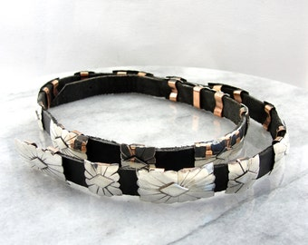 Native American Concha Style Silver and Leather Hat Band W8KX64-N