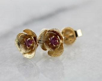 Ruby Rose Flower Stud Earrings LE2D8A-R