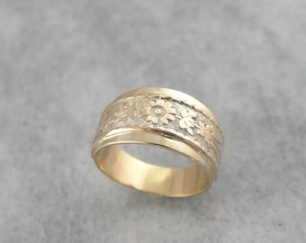 Tapered Victorian Revival Wedding Ring with Cigar Band, Floral Style Y5RK42-P