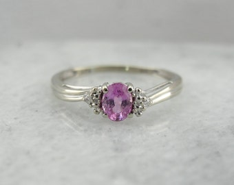 Sweet Pink Sapphire Ring in White Gold LME5U6-P